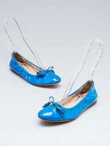 Prada Blue Patent Leather Elastic Bow Ballet Flats Size 6/36.5