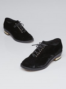 Chanel Black Velvet Lace-Up Oxford Loafers Size 5.5/36