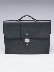 Hermes Black Vache Trekking Leather Sac a Depeche 2-41 Briefcase Bag