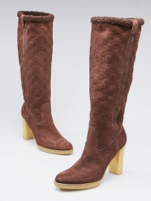 Gucci Brown Guccissima Suede Pull-on High Heel Boots Size 8.5