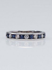 Tiffany & Co. Platinum Diamond and Sapphire Band Size 5