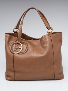 Gucci Brown Pebbled Leather Twill Medium Tote Bag