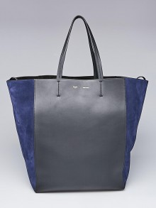 Celine Black Leather and Blue Suede Horizontal Phantom Large Cabas Tote Bag