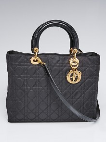 Christian Dior Black Cannage Quilted Nylon Large Lady Dior Bag