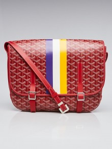 Goyard Red Chevron Printed Coated Canvas Belvedere GM Bag