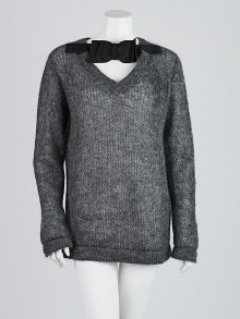 Prada Grey Mohair Sweater with Bow Detail Size 8/42