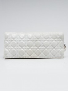 Christian Dior Silver Iridescent Leather Foldover Clutch Bag