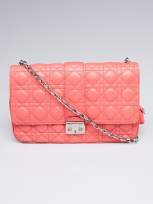 Christian Dior Pink Cannage Quilted Lambskin Leather Miss Dior Large Flap Bag