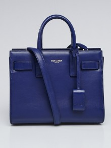 Yves Saint Laurent Blue Leather Classic Nano Sac de Jour Bag