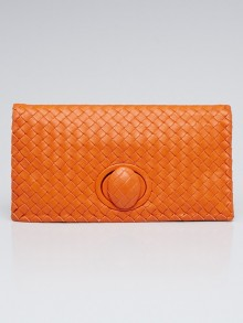 Bottega Veneta Intrecciato Woven Leather Turnlock Clutch Bag