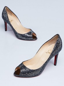 Christian Louboutin Hematite Strass Crystals Youyou 85 Peep Toe Pumps Size 6/36.5