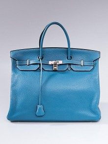 Hermes 40cm Blue Jean Clemence Leather Palladium Hardware Birkin Bag