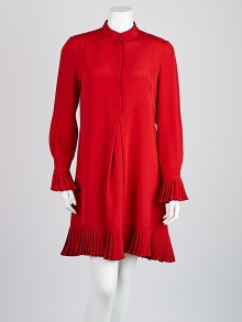 Alexander McQueen Red Silk Pleated Detail Dress Size 8/42