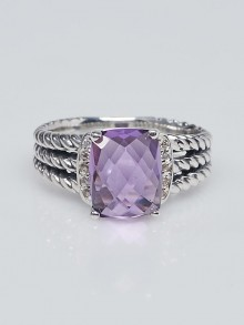 David Yurman Amethyst and Diamonds Petite Wheaton Ring Size 7.5