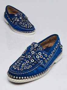 Christian Louboutin Blue Sapphire Suede Yacht Spikes Flat Loafers Size 7.5/38