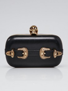 Alexander McQueen Black Leather Buckle Skull Box Clutch Bag