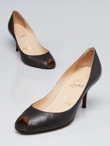 Christian Louboutin Dark Grey Leather Open Toe Pumps Size 7/37.5