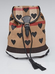Burberry Black Leather Canvas Check Heart Print Backpack Bag