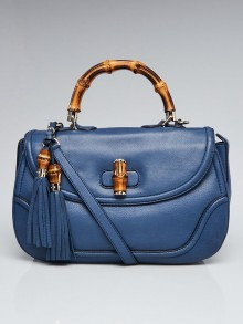 Gucci Blue Leather New Bamboo Large Top Handle Bag