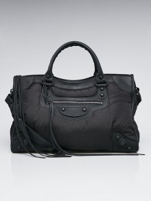 Balenciaga Black Puffy Nylon Motorcycle City Bag