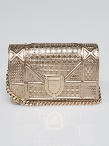 Christian Dior Metallic Gold Leather Micro Diorama Bag