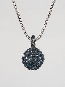 David Yurman Sterling Silver and Hampton Blue Topaz Osetra Pendant Necklace