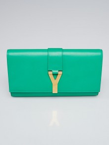 Yves Saint Laurent Green Smooth Calfskin Leather Light Y Clutch Bag
