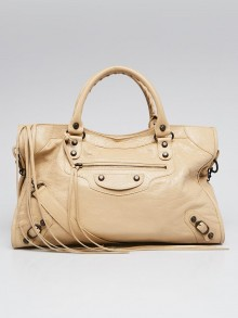 Balenciaga Beige Oryx Lambskin Leather Motorcycle City Bag