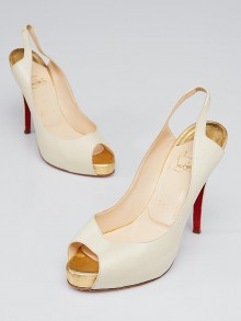 Christian Louboutin White/Gold Leather No Prive 120 Slingback Heels Size 8.5/39