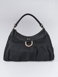Gucci Black GG Canvas Large D-Ring Hobo Bag