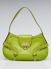 Salvatore Ferragamo Green Leather Shoulder Bag