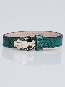Bvlgari Green Karung Snake Leather Serpenti Bracelet