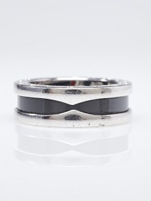 Bvlgari Sterling Silver and Ceramic B.Zero1 Save The Children Ring Size 5.5/50