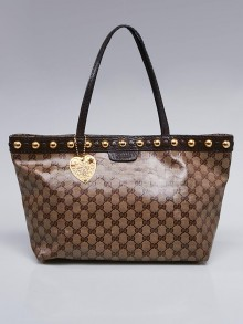 Gucci Beige/Ebony GG Crystal Canvas Babouska Medium Tote Bag