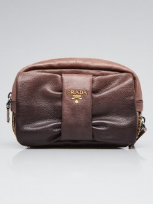 Prada Ardesia and Nude Degrade Glace Leather Bow Clutch Bag BP0156