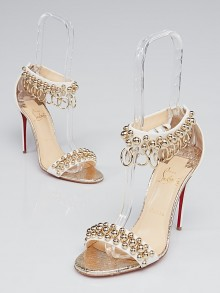 Christian Louboutin White Leather Gold Studded Gypsandal 100 Sandals Size 9/39.5