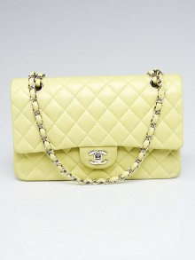 Chanel Yellow Quilted Lambskin Leather Classic Medium Double Flap Bag