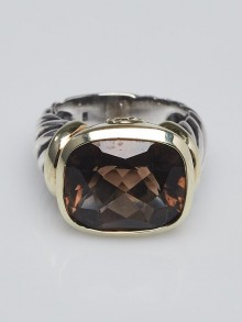 David Yurman 14k Gold and Smoky Quartz Noblesse Cable Ring Size 6