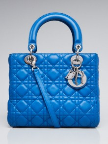 Christian Dior Bright Blue Cannage Lambskin Leather Soft Lady Dior Small Bag
