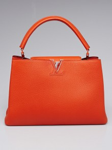 Louis Vuitton Clementine Taurillon Leather Capucines MM Bag