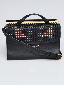 Fendi Black Saffiano Leather Small Studded Monster Demi Jour Shoulder Bag 8BT245