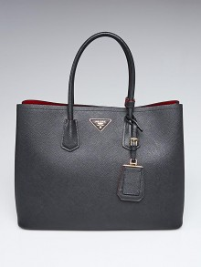 Prada Black Saffiano Leather Double Handle Large Tote Bag BN27661