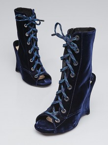 Prada Blue Velvet Lace-Up Wedge Boots Size 10/40.5