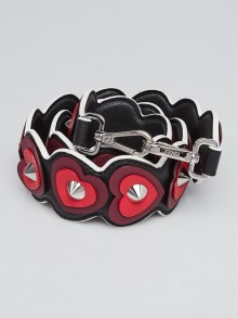 Fendi Black/Red Leather Strap You Heart Shoulder Strap