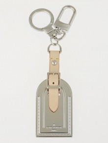 Louis Vuitton Silver Metal Luggage Tag Key Holder and Bag Charm