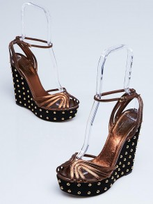 Gucci Black Suede and Bronze Leather Studded Wedges Size 7.5/38