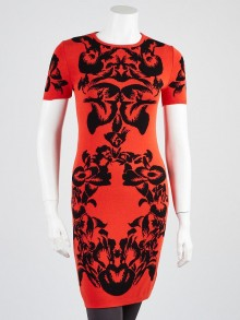 Alexander McQueen Red/Black Floral Print Viscose Knit Sweater Dress Size S