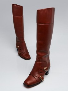 Christian Louboutin Chataigne Leather Monk-Strap Caballero 60 Knee High Boots Size 9/39.5