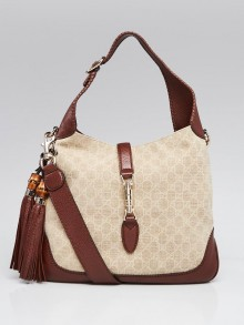 Gucci Beige/Brown GG Canvas Bamboo New Jackie Medium Shoulder Bag