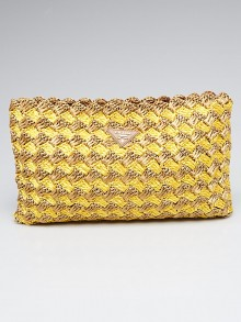 Prada Tan/Yellow Raffia Crochet Clutch Bag BP0515